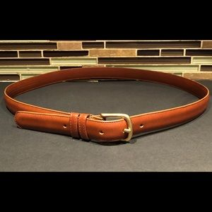Coach Light Brown Leather Brass Belt Size 36